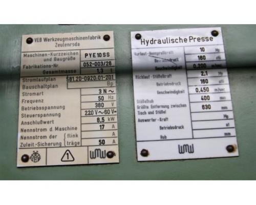 WMW ZEULENRODA Einständerpresse - Hydraulisch PYE 10 SS - Bild 3