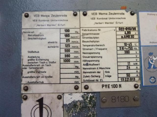 WMW ZEULENRODA Einständerpresse - Hydraulisch PYE 100 N - 5