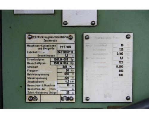 WMW ZEULENRODA Einständerpresse - Hydraulisch PYE 10 S - Bild 6