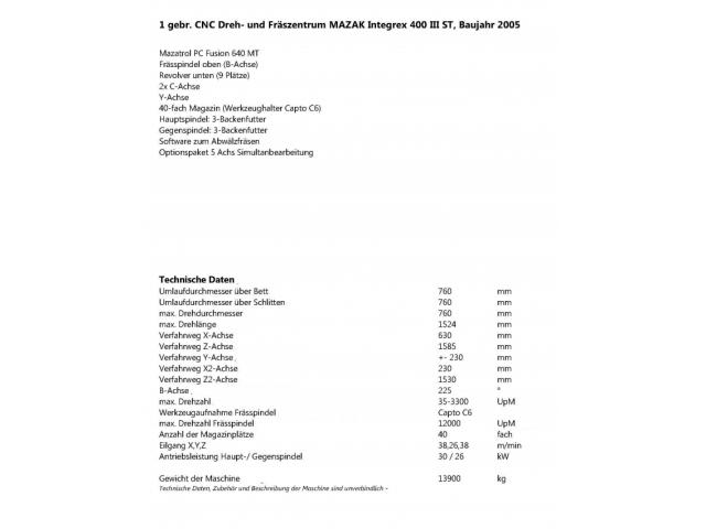 Bearbeitungszentrum Mazak Integrex 400 - 2